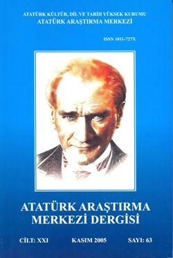 Atatürk Araştırma Merkezi Dergisi, Kasım 2005 ,Sayı: 63, 2008