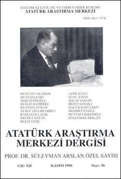 Atatürk Araştırma Merkezi Dergisi, Kasım 1996 , Sayı: 36, 1997